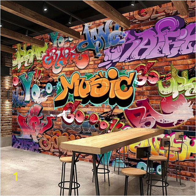 Bar Scene Wall Murals Custom Wall Mural 3d Embossed Brick Wallpaper Graffiti Art