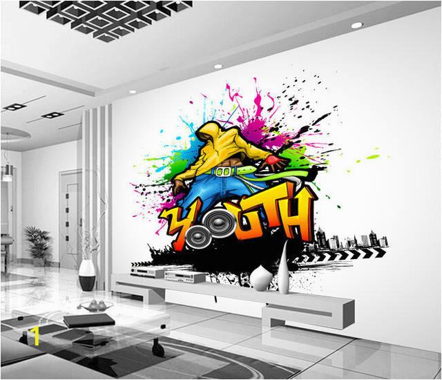 Custom papel DE parede 3 d music and dance graffiti murals for bar KTV background wall 640x640q70