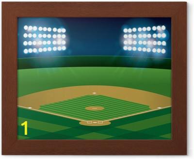 framed posters baseball softball field lit at night