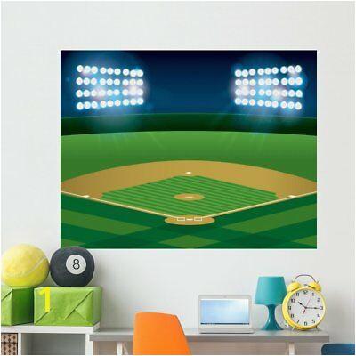 Baseball Softball Field Lit Wall Mural by Wallmonkeys