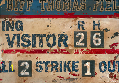 Vintage Scoreboard Baseball Cream and Navy Wall Art PE0382