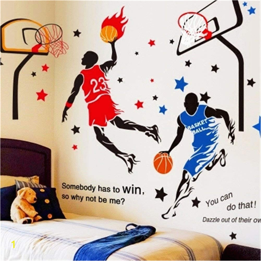 Basketball Wall Murals Large Kelay Fs 3d Basketball Wall Decals Sports Decals Basketball Stickers Wall Decor Basketball Player Wall Stickers for Boys Room Bedroom Decor