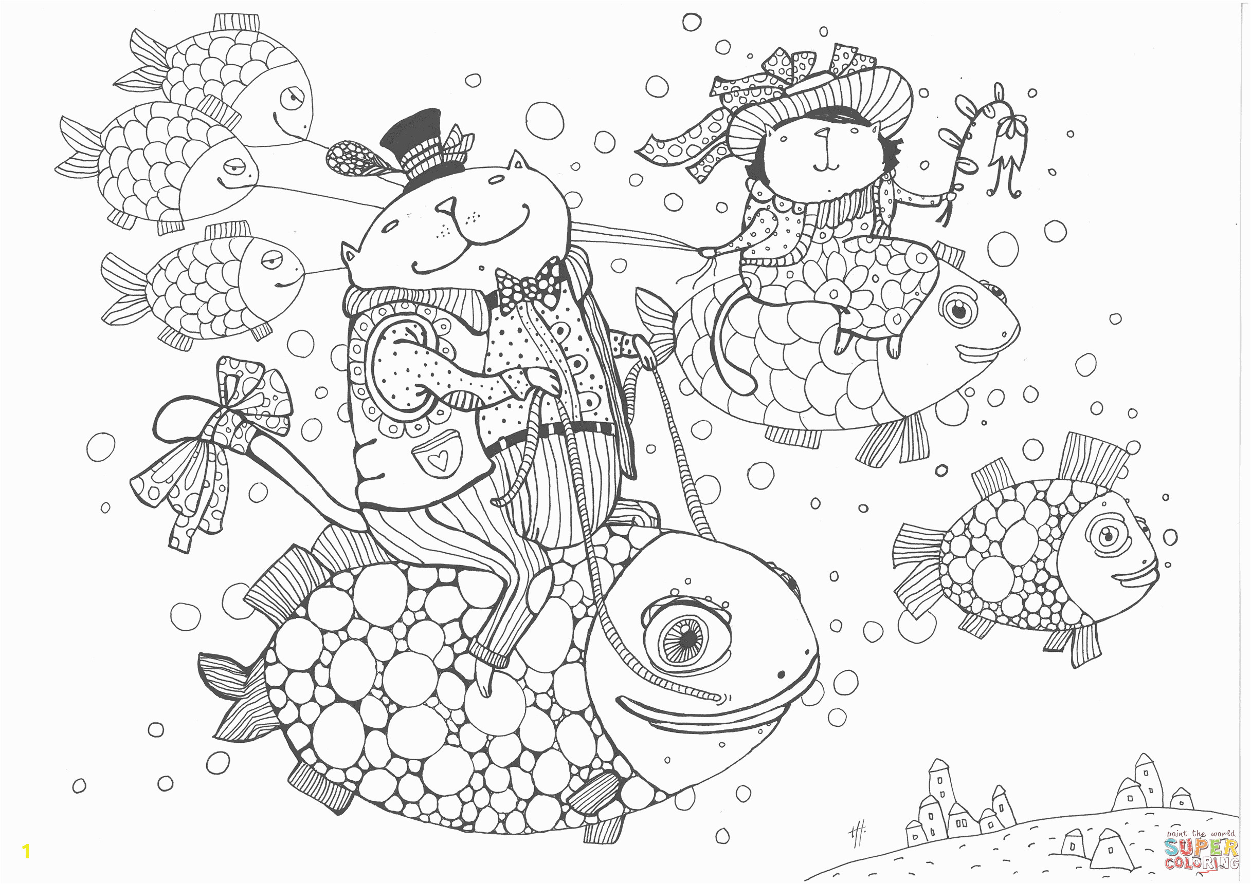 cats fly fish coloring page
