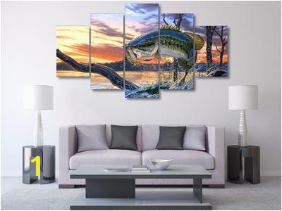Bass Fishing Dream 5 Piece Wall Art Canvas living room 400x400