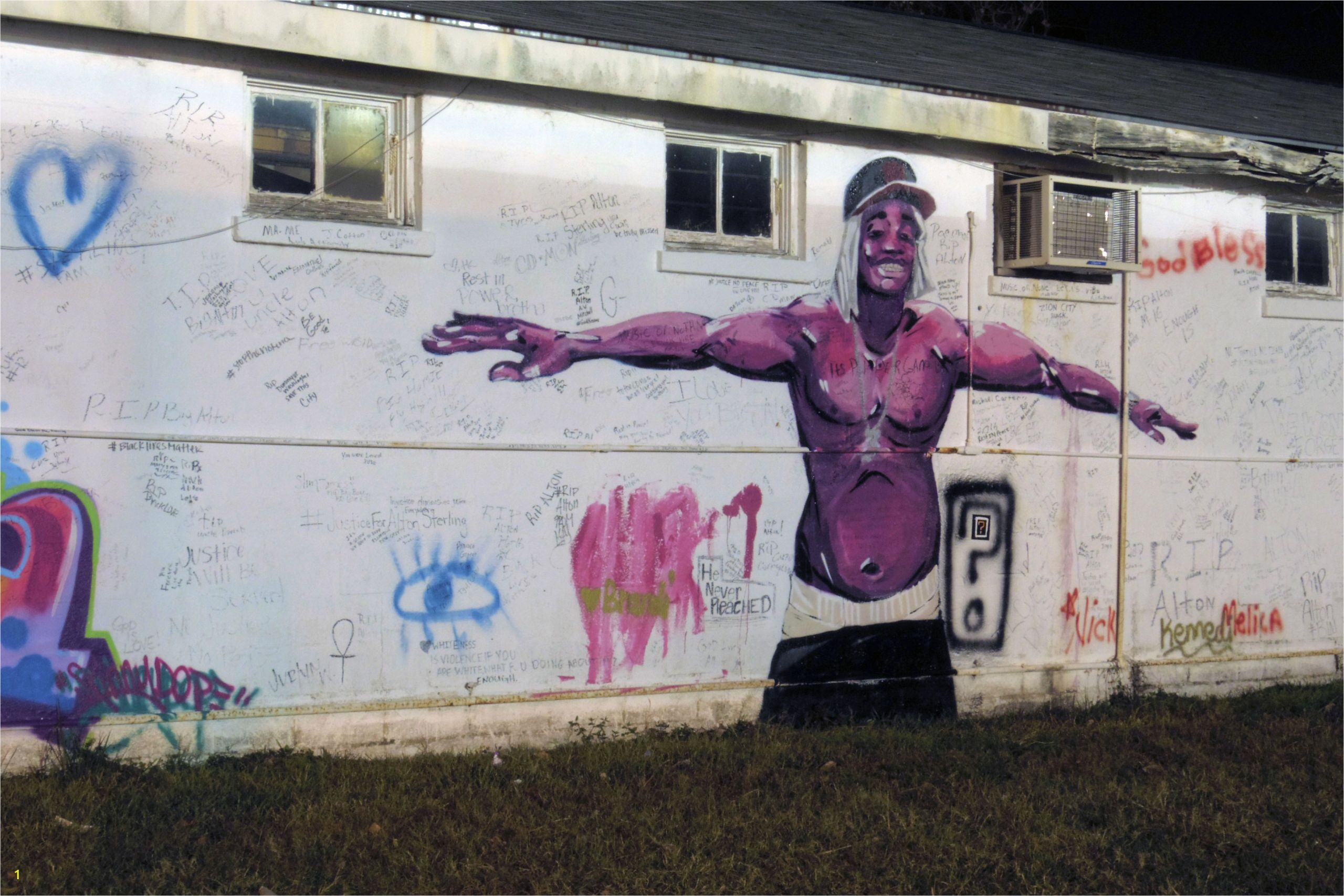 Street art of a black man in Baton Rouge