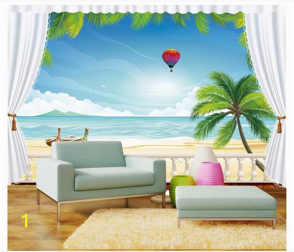 Beach Window Wall Murals High End Custom 3d Wallpaper Murals Wall Paper Hot Air Balloon Beach 3d Living Room Wallpaper Background Wall Home Decor Hd Widescreen