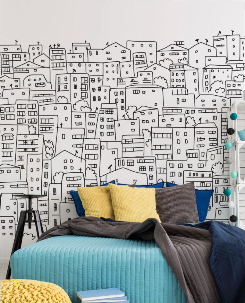 Bedroom Wall Mural Designs Black and White City Sketch Mural