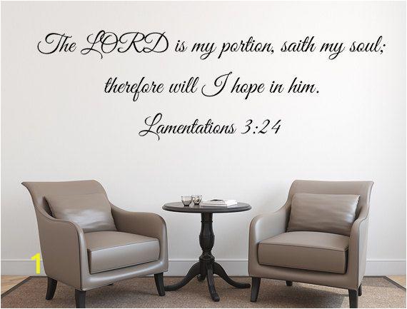 Bible Verse Wall Murals Lamentations 3 24 Christian Bible Verse Wall Decor Kjv