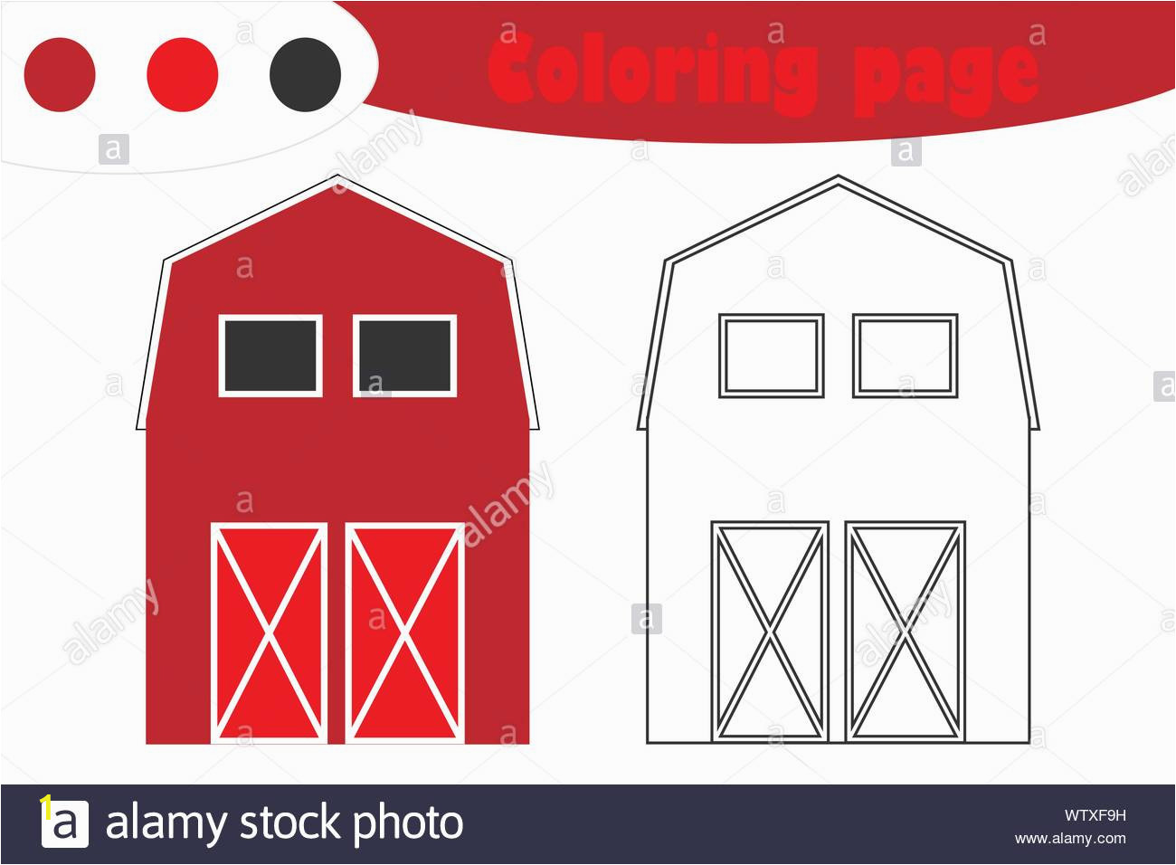 farm barn in cartoon style coloring page spring education paper game for the development of children kids preschool activity printable worksheet WTXF9H