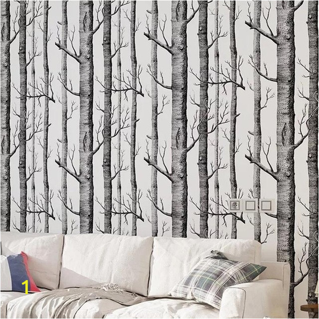 Black White Birch Tree Wallpaper For Bedroom Modern Design Living Room Wall Paper Roll Rustic Forest 640x640