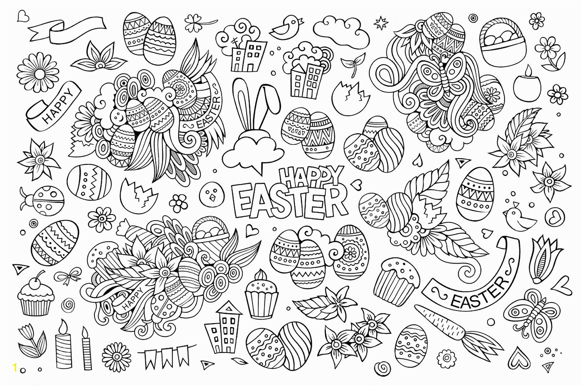 easterlt coloring egg hunt pages unique simple doodle ideas happy easter day pages