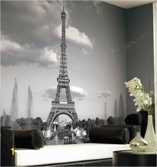 Black and White Wall Murals Of Paris Eiffel tower Mural Wallpaper Black and White