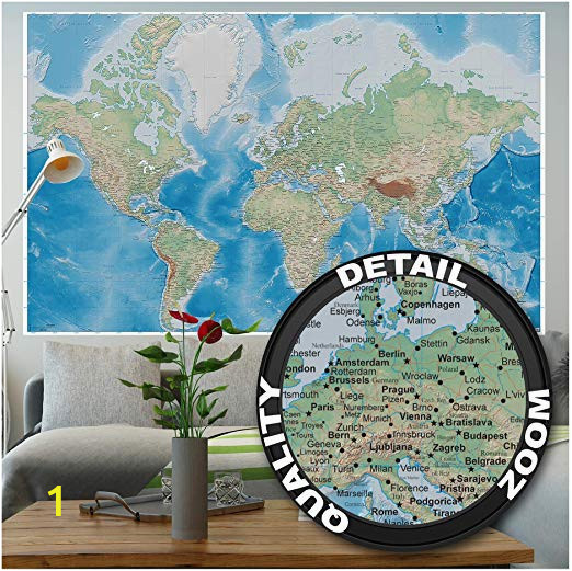Blue World Map Wall Mural Mural – World Map – Wall Picture Decoration Miller Projection In Plastically Relief Design Earth atlas Globe Wallposter Poster Decor 82 7 X 55