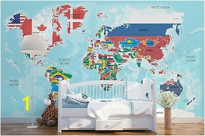 3D Blue Plane World Map Wallpaper Mural Peel