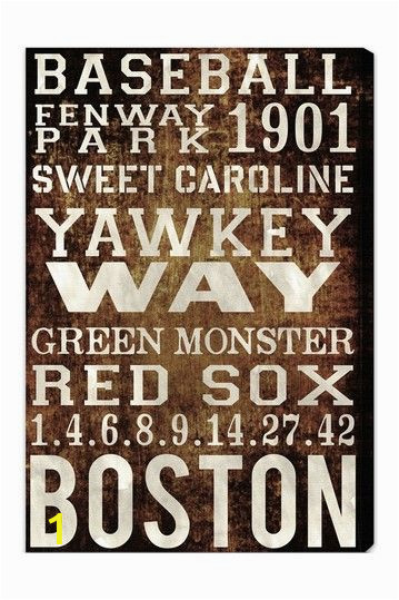 """Boston Red sox Wall Murals Oliver Gal """"boston Red sox"""" Canvas Wall Art by Oliver Gal"""