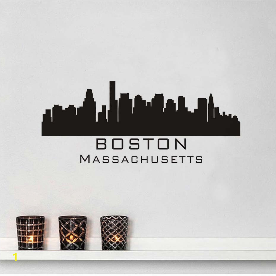 Boston Skyline Wall Decal Diy Removable Art Wall Sticker Mural Silhouette Design House Decoration For Living