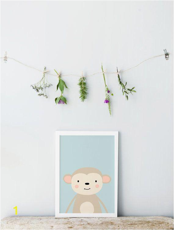 Botanical Wall Murals Uk Monkey Print Children Nursery Wall Art Cute Monkey Print
