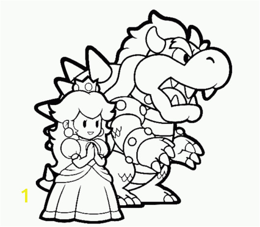 Bowser Mario Coloring Pages Bowser and Princess Peach Mario Coloring Pages