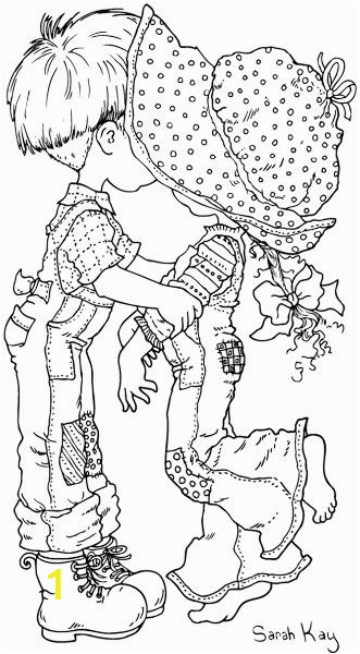 Boy and Girl Kissing Coloring Pages Pattern Little Boy Kissing Little Girl Behind Hat Brim