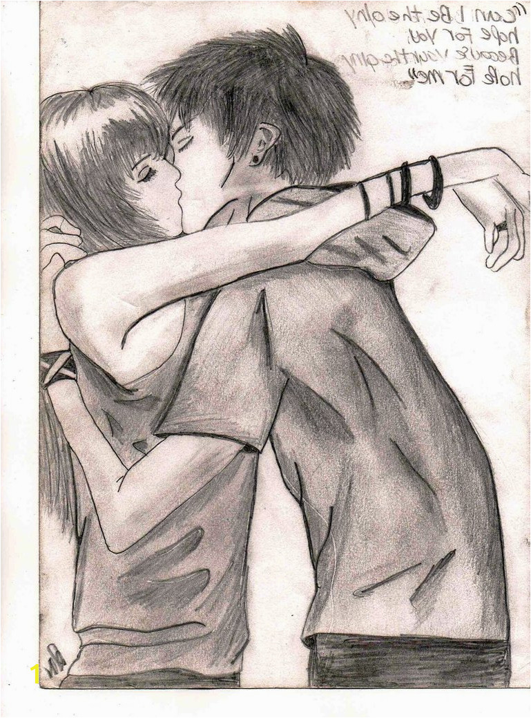 boy and girl kissing drawing 2