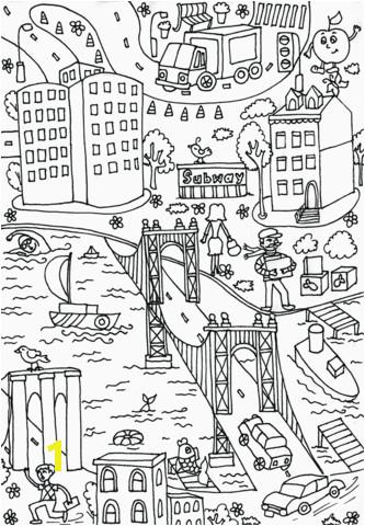 manhattan bridge coloring page