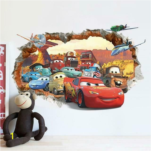 Cars 2 Wall Murals Pixar Cars 2 3 Sticker Lightning Mcqueen Mater Pvc