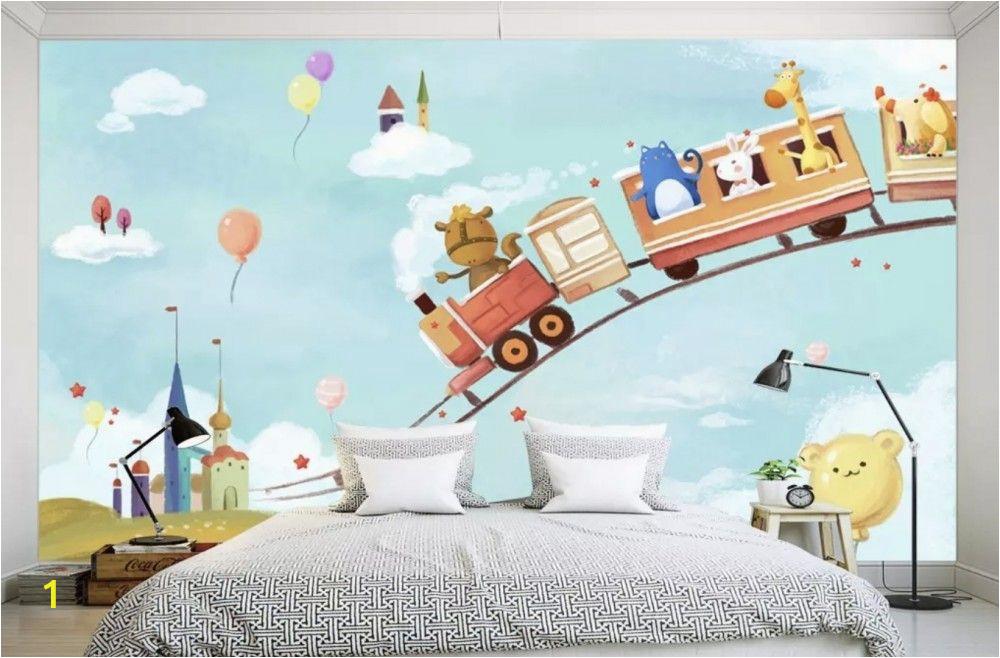 Cartoon Murals On the Wall Cartoon Animals In the Amusement Park Wallpaper Mural