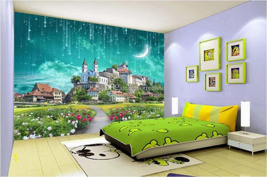 3d galaxy wallpaper fantasy castle wandbild