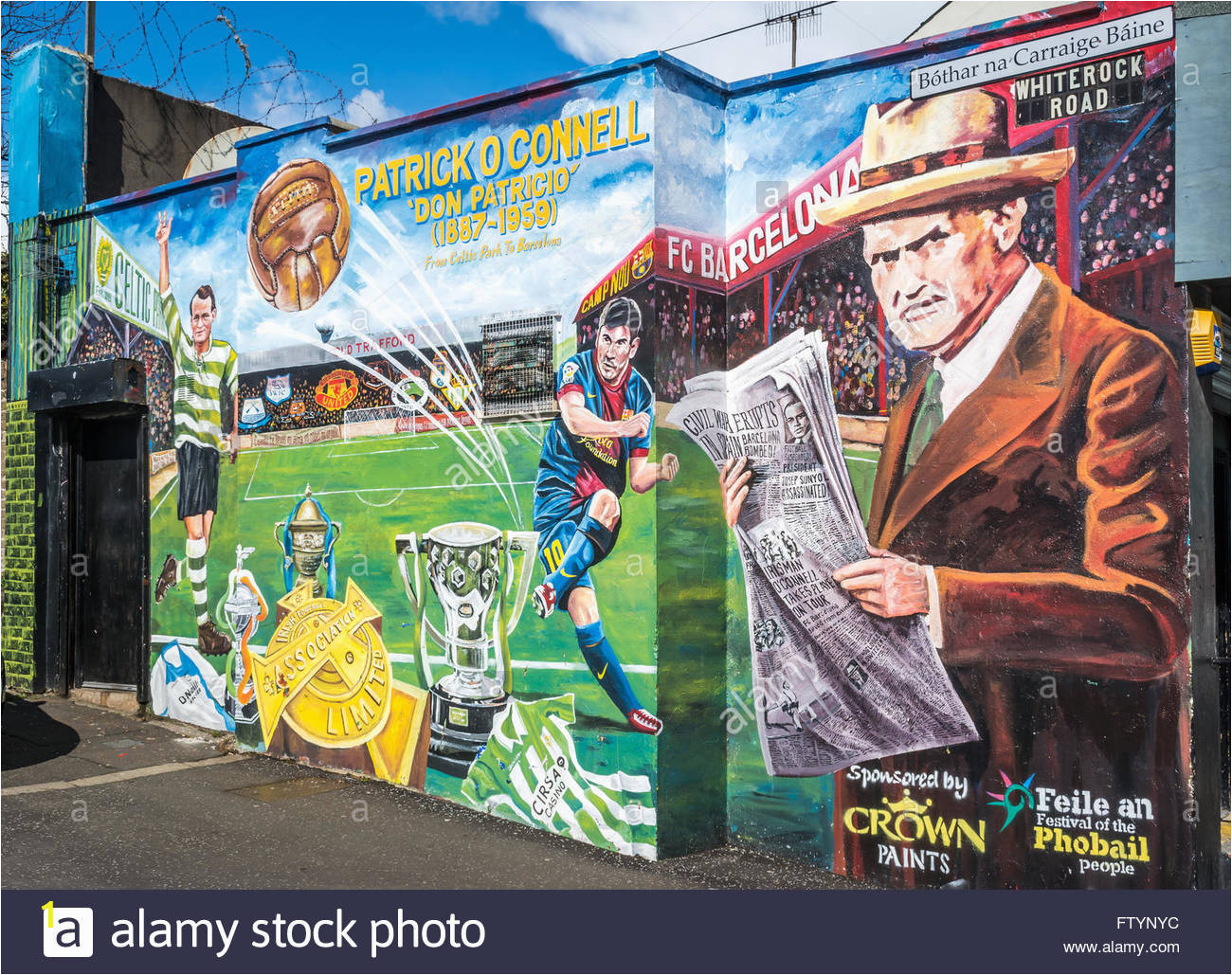 patrick oconnell celtic and barcelona mural in west belfast FTYNYC
