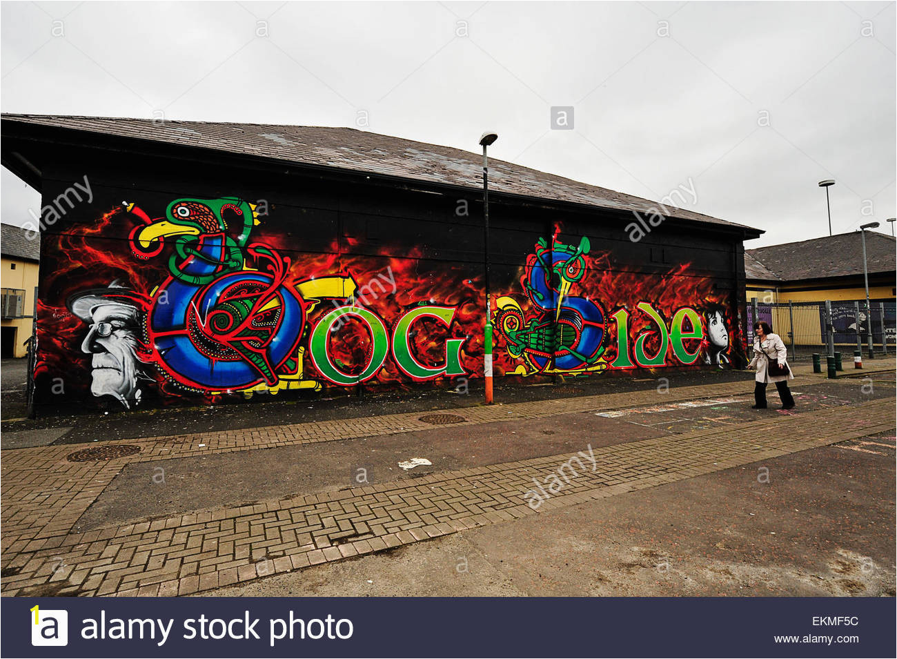 a wall mural in the bogside derry londonderry with celtic design and EKMF5C