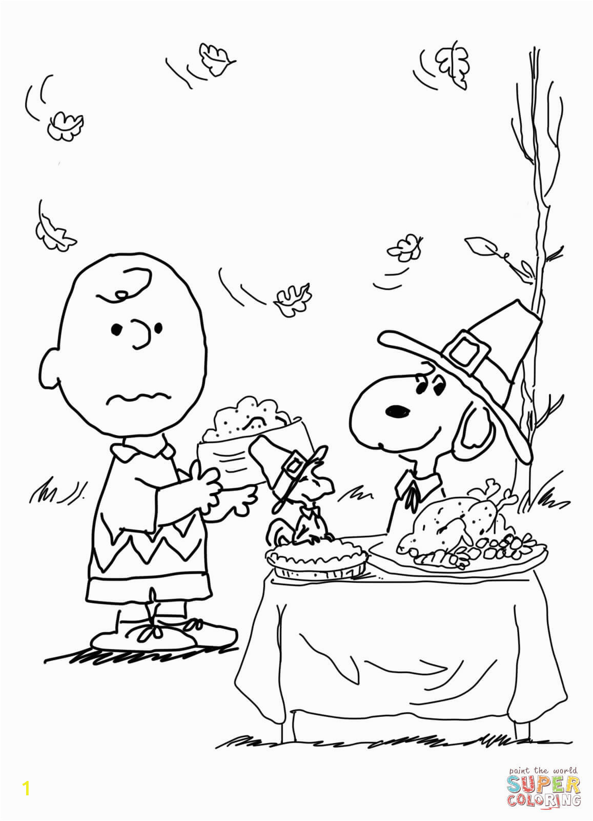 colorings for kids free thanksgiving charlie brown