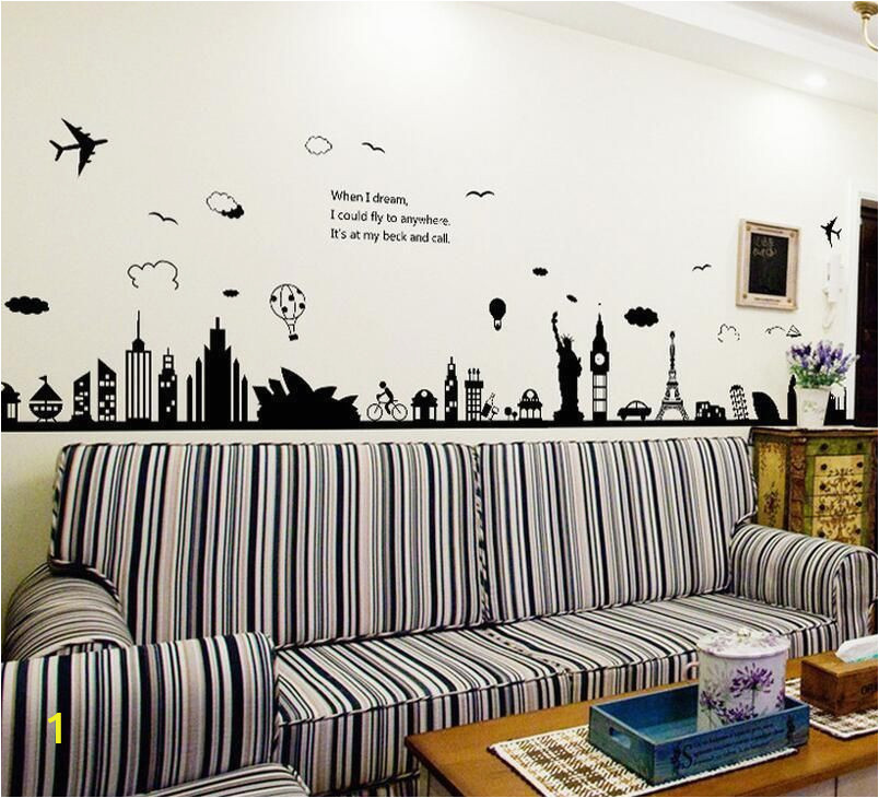 Cheap Kitchen Wall Murals City Silhouette Removable Wall Sticker Room Mural Decal Home