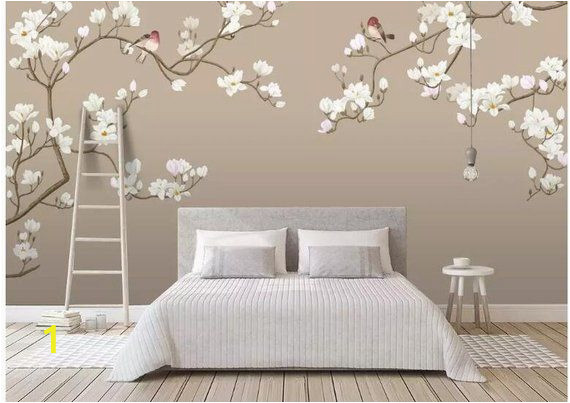 Cherry Blossom Mural On Walls Fine Brushwork Magnolia Blossom Chinoiserie Wallpaper Wall