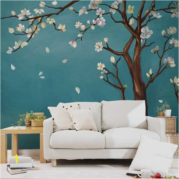 Cherry Blossom Tree Wall Mural Hand Painted E Magnolia Tree Flowers Tree