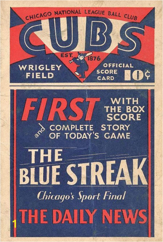 Chicago Cubs Wall Murals Chicago Cubs 1933 Print Vintage Baseball Poster Retro