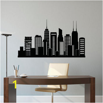 Chicago Skyline Wall Mural Chicago Skyline Wall Decal City Silhouette Chicago Illinois Skyline Decal Fice Business College Dorm Living Room Wall Art Home Decor C127
