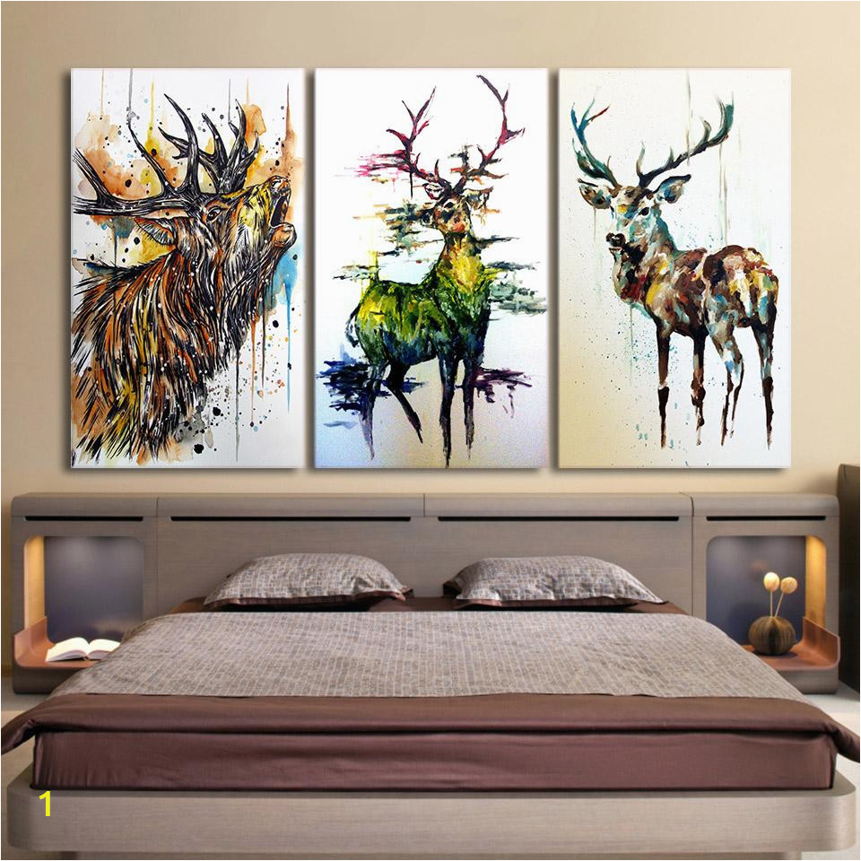 Childrens Painted Wall Murals Canvas Deer Head Painting Home Wall Living Room Rectangle