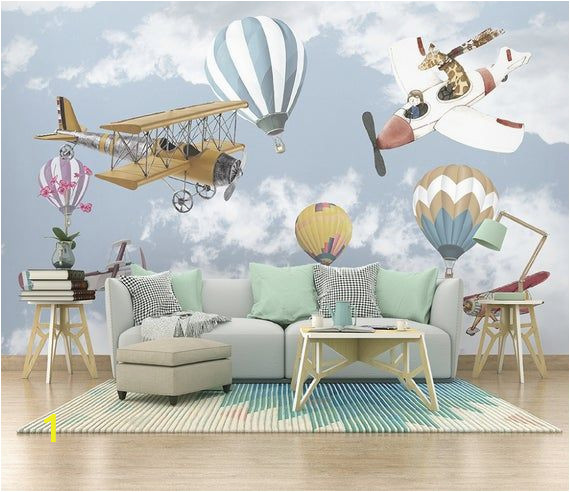 Childrens Wall Murals Wallpaper Airplane and Baloon Wallpaper Kids Room Cartoon Wall Mural