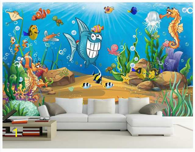 3D wall murals wallpaper custom picture mural Beautiful cartoon mural submarine world children room TV backdrop 640x640q70