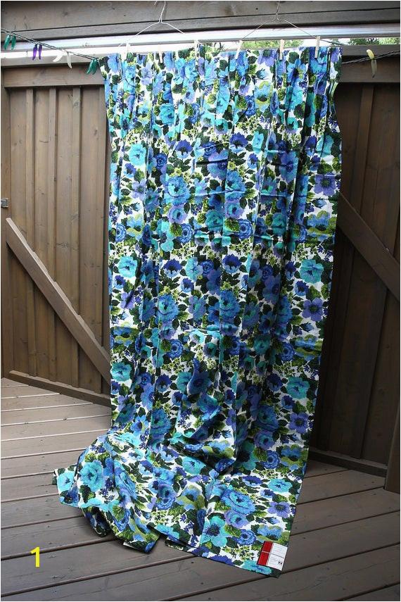 vintage 1970s blue floral curtains two