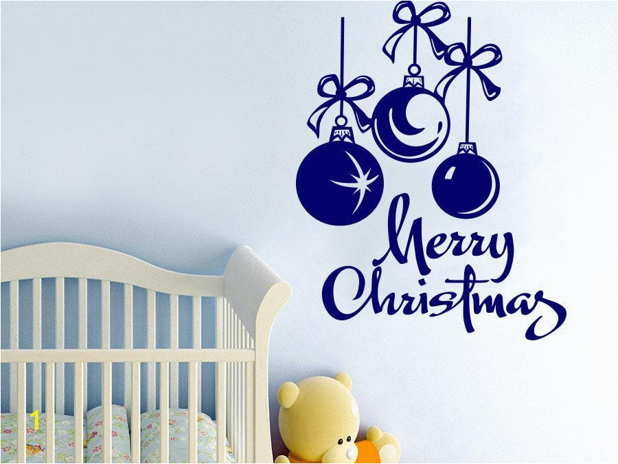 Christmas Vinyl Wall Murals Merry Christmas Ballons Vinyl Wall Sticker Mural Creative Nursery Bedroom Art Home Decoration Wall Decal Mc004 Floral Wall Decals Floral Wall Stickers