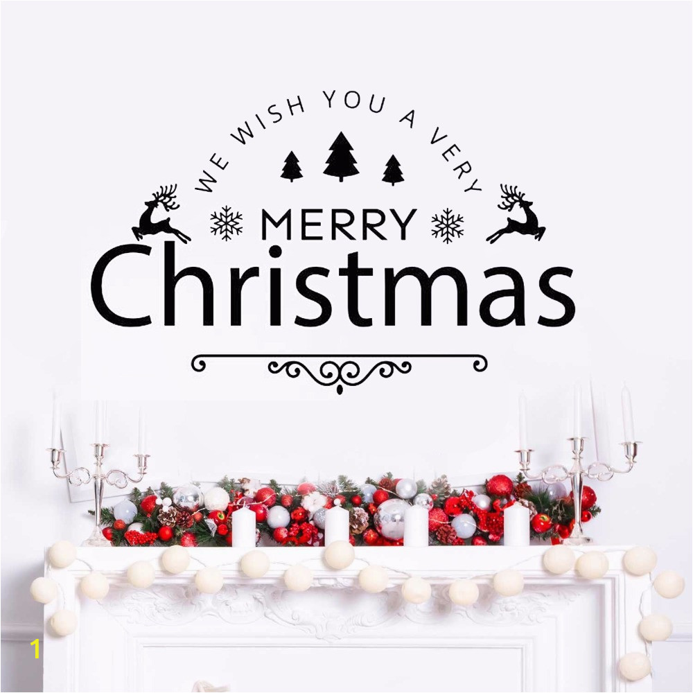 Wall Vinyl Decal Merry Christmas Holiday Vinyl Art Removable Happy New Year Quote Wall Sticker Home