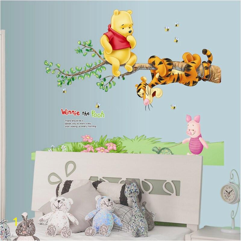 Winnie The Pooh Tiger Rabbit Wall Stickers For Kids Room Decoration Cartoon Animals Wall Decals Art