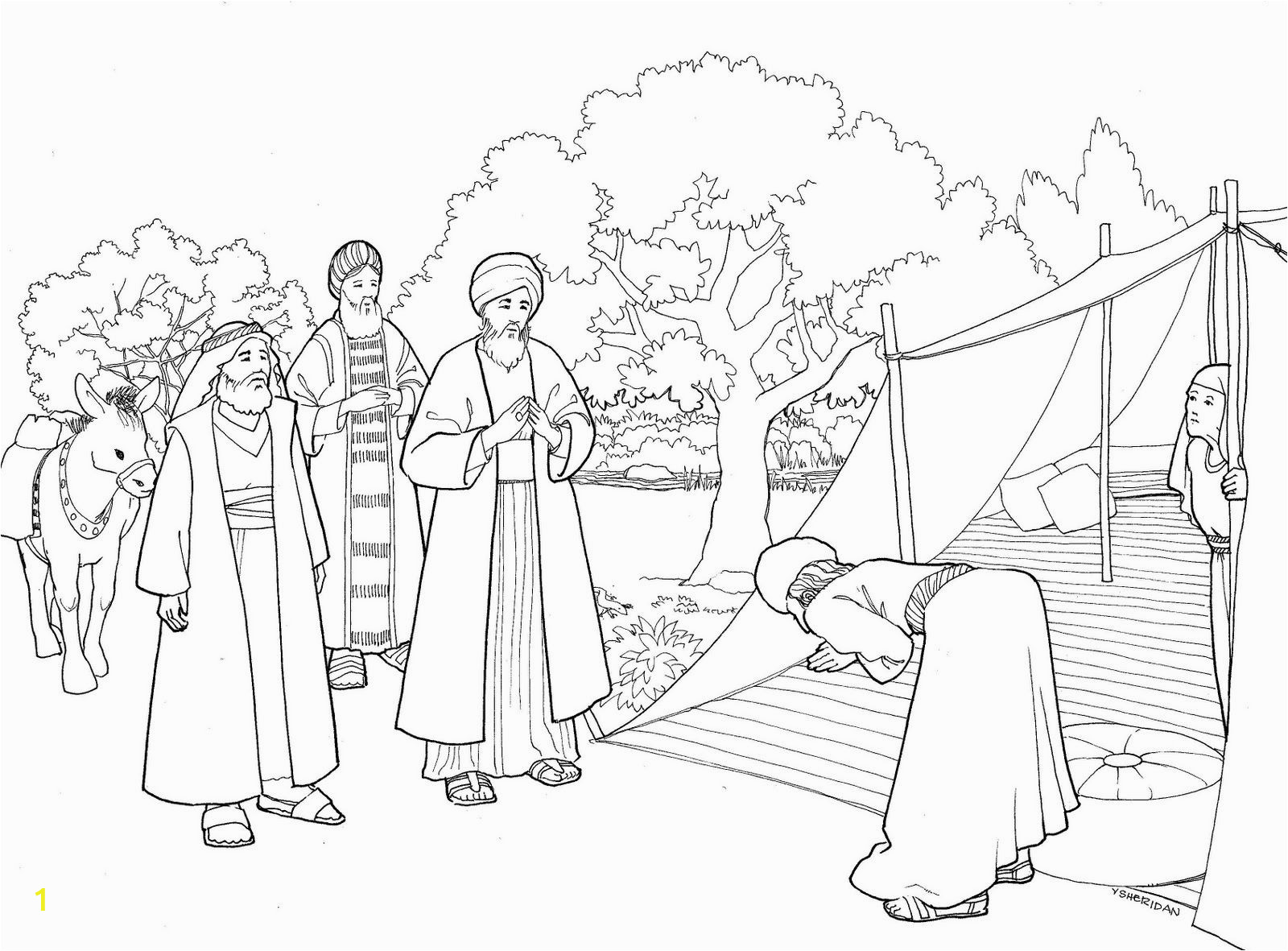 Coloring Page Of Paul Abraham and Three Visitors Coloring Page