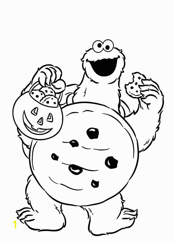 Trick or Treat Cookie Monster Coloring Pages