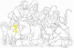 christmas nativity scene holy family baby jesus mary joseph shepherds coloring page vector cartoon christian illustration