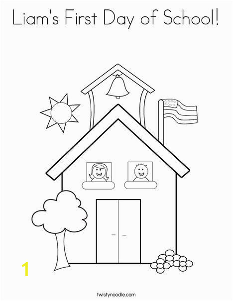Coloring Pages Of School House Liam S First Day Of School Coloring Page Tracing Twisty