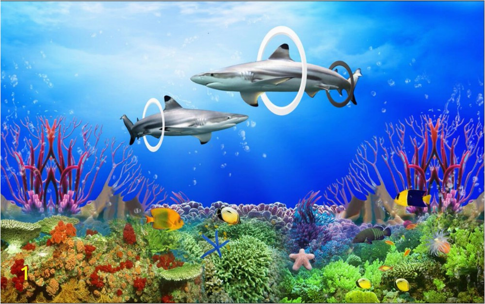 Coral Reef Wall Mural Us $15 03 Off Custom Photo 3d Room Wallpaper Coral Reef Sharks Home Improvement Decoration Painting 3d Wall Murals Wallpaper for Walls 3 D In
