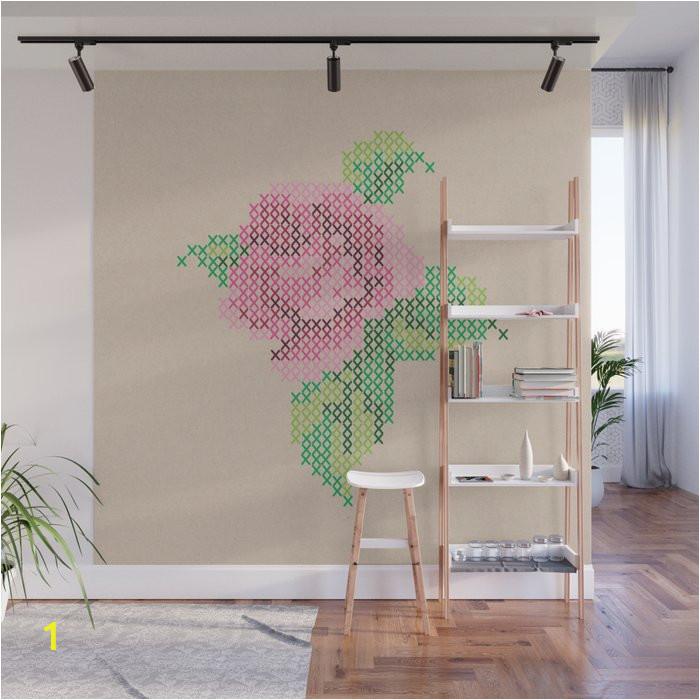 rose cross stitch wall murals