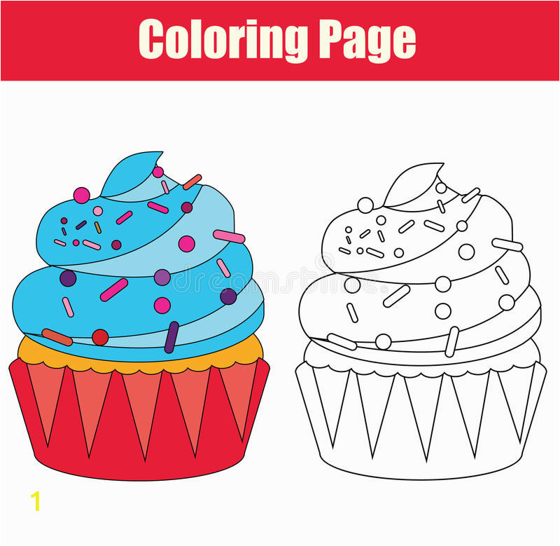 coloring page cupcake drawing game children copy colors book kids